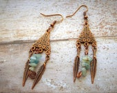 Aquamarine Earrings, Minimal Earrings, Blue Gem, Raw Stone Earrings, Southwestern Feather Earrings, March Birthstone, Dainty Tribal Earrings