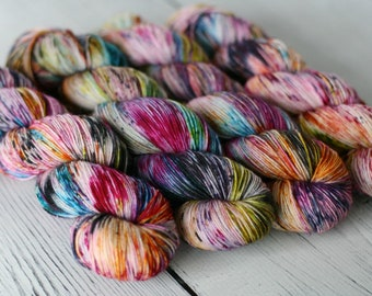 Ready To Ship - Coraline - Speckled Yarn - Sock Yarn - Hand Dyed -Yarn - Merino - Nylon - Yarn - Knitting - Hand Dyed Yarn
