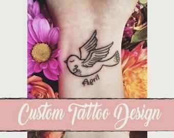 Custom Permanent Tattoo Design, Personalized Illustrations, Custom Tattoo