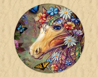 "Boho Hippie Horse   Round Beach Towel  60"" Gypsy Floral"