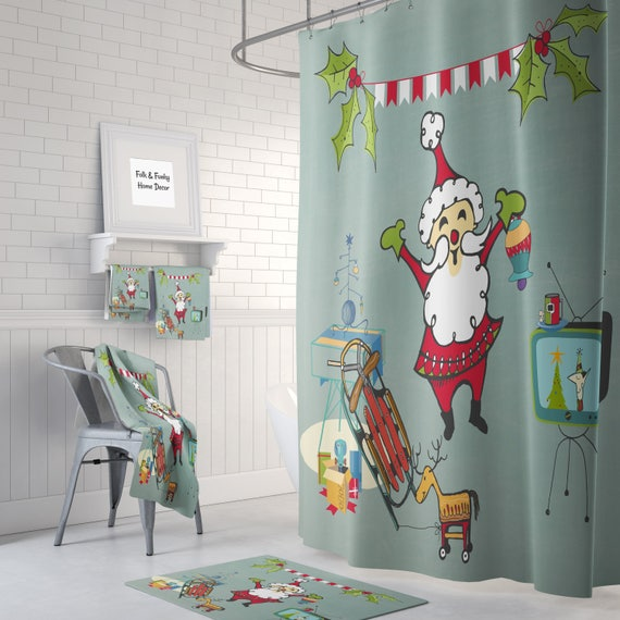 Santa Father Christmas Retro Mod Festive Shower Curtain