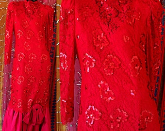 Rina Di Montella Dress French Lace Sequin Dress Vintage 80s Couture Evening Gown