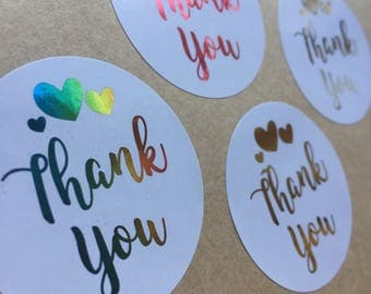 24 x Thank You Stickers - Foil Stickers - Business Stickers - Business Branding - Branding Package - Packaging Box - Foiling