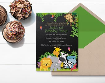 Jungle Birthday ~ Jungle Invitation ~ Birthday Invitation ~ Jungle Party ~ Safari Invitation, Safari Birthday ~ Safari Party ~ Monkey ~ One