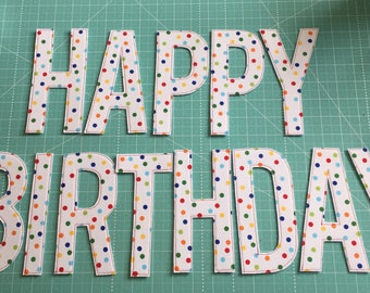 "6"" Rainbow Polka-Dotted ""Happy Birthday"" Banner"