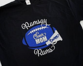 Cheer Mom Shirt with Megaphone and Cheerleader name, Long Sleeve, Hoodie, Sweatshirt - customize for team name (Ramsay Rams shown). Glitter
