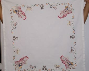 Christmas White hand embroidered square traycloth Polish embroidered Santa Claus bear baby carriage Table top dresser scarf xmas decor
