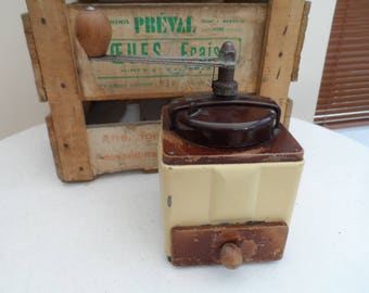 Vintage French all original Coffee Grinder 'Moulin à Café'  Made by Peugeot Freres with a Bakelite Top and Cream Coloured Metal Body