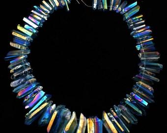 Turquoise Blue,Titanium Quartz, Titanium Crystal, Titanium Quartz Beads, Titanium Beads, Quartz Point - Full strand  -NS119