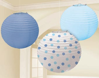 Set Of Three 9 1/2 Inch Sweet Blues & Polka Dots Paper Lanterns - Wedding - Anniverary - Birthday - Baby Shower - All Occasion Party Decor