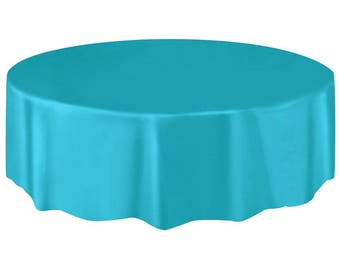 Perfect Strong Reusable 84 Inch Round Plastic Table Cover   Tablecloth   Turquoise    Caribbean Blue