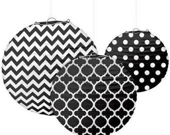 Set Of Three Black & White Beautifully Patterned Paper Lanterns In 3 Sizes - Wedding - Anniverary - Birthday - All Occasion Party Decor
