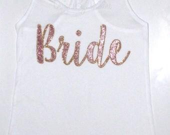 BRIDE glitter tank. Bride racerback tank. Bride Bridal shower gift. Bride tank.