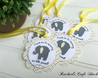 Yellow and Gray Elephant Favor Tags - Elephant Baby Shower Tags - Thank You Tags