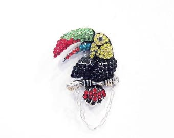 Multi Colored Crystal Toucan Eyeglass Holder