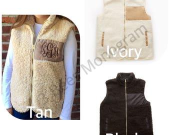 Monogrammed Fleece-Lined Sherpa Vest