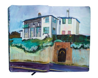 "Fine Art Print of Landscape Painting from Artist Sketchbook - ""Abandoned Mansion in Devon, England"""