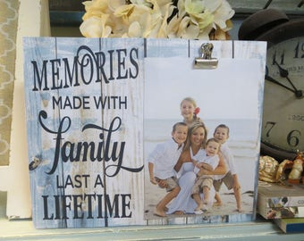 "Wood Picture Fame, ""Memories Made With Family Last a Lifetime"", Family Picture Frame, Beach Inspired Family Frame"