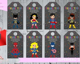 Superhero Tag Superhero Party Favour Superhero Party Stickers Wonderwoman Batman Supergirl Batgirl Spiderman Thank You Tag PERSONALISED