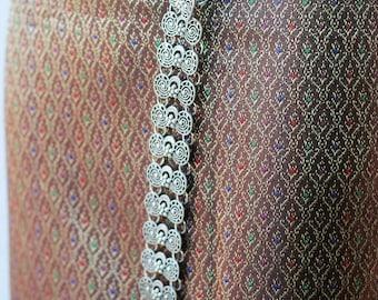 Thai silk textile - sarong decoration style - narrow table runner - silk weaving (Sarong Dress)