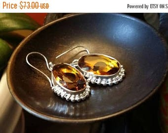 SUMMER CLEARANCE SALE Citrine Gemstone Earrings 925 Sterling silver Jewelry TheUnlikelyBandit