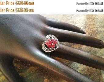Holiday SALE 85 % OFF Red Corundum Size 9 Ring Gemstone. 925 Sterling  Silver