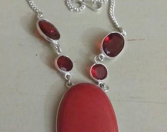 Holiday SALE 85 % OFF Red Coral Garnet Necklace .925 Sterling  Silver  Gemstone