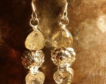 Holiday SALE 85 % OFF Rituilated Quartz    Earrings  Gemstone  .925 Sterling Silver