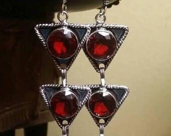 Holiday SALE 85 % OFF Garnet  Sterling silver Earrings Gemstone  .925