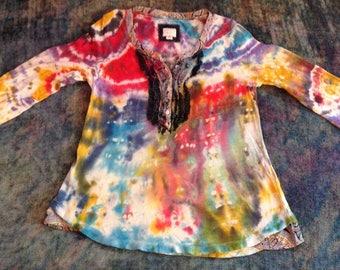 Women's XS Up-Cycled Tie Dye T-Shirt,long sleeves,paisley/polka dot ruffle accent