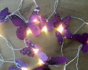Purple butterfly fairy lights - led lights 20 led fairy lights - Purple butterfly string lights
