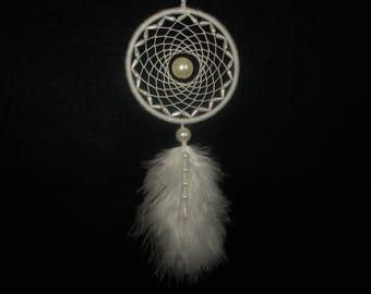 3 inch White Dreamcatcher - Car Rear-View Mirror Ornament - Hippie Boho Dream Catcher - Wedding Decoration - Wall Hanging Nursery Room Decor