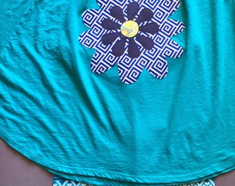 Girls Clothing Set, Size 10/12, circular tee, teal with coordinating multi layered flower & leggings of navy and teal