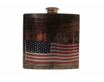 American Flask Gift For Soldiers / Stainless Steel Flask For Groomsmen / Gift For Boyfriend / USA
