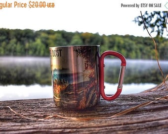 FLASH SALE Not All Who Wander Are Lost Carabiner Handle Coffee Mug with Hiking Quote / Rock Climbing Gift / Campfire Mug