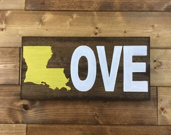 Louisiana LOVE Wood Sign, Louisiana art, Louisiana State Sign, Louisiana decor, Louisiana signs, wedding signs, Cajun decor, New Orleans art