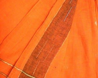 Antique Vintage Saree Pure Cotton Saree Decor Craft Cotton Sari Fabric Up-Cycled Wrap India Clothing Vintage Orange Sarong PCS1203