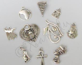 Egypt Charms 10PCs Mix - 10/20/50 Wholesale Antiqued Silver Plated Egyptian Pendants CM6303