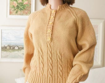 Hand knitted cable wool jumper Traditional mustard wool sweater Hand knitted mustard sweaterMustard handknit sweater Cabled handknit sweater