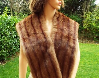 Real fur stole 1930s/40s luxurious Autumn haze mink fur stole shawl Real fur wrap Mink wrap Bridal fur Wedding fur Striped real fur wrap