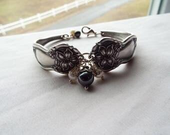"""Spoon Bracelet, Spoon Jewelry, Silver Bracelet, floral bracelet, flowers, pearls, """"Orange Blossom"""" by Wm Rogers, 1910"""