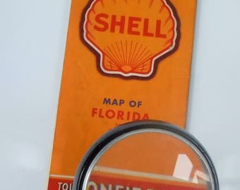 Florida / Road Map Very Old Driving / Map of Florida from Sunoco / Before Disney / Includes Cuba