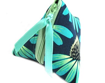 "Gift-wrapped with faux green ""Primose"" fabric purse"