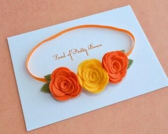 Felt Flowers Orange Headband Fall Headband Thanksgiving Headband Orange Flowers First Thanksgiving Newborn Crown