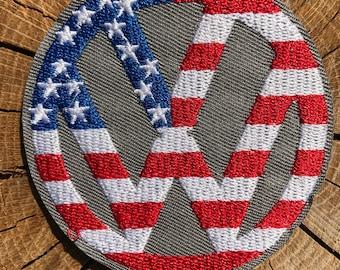 VW Hippie Volkswagen Westfalia American Flag Iron On Patch Germany Bus Van Camper Peace