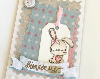 Congratulation card - birth card - rabbit - pastel, handmade card