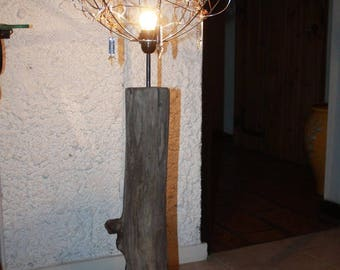 light drift wood, aluminum wire and vintage crystal chandelier