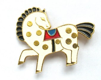 White Horse, Vintage collectible badge, Animal, Brooch, Pin, Made in USSR, 1980s