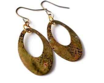 Brass Hoop Earrings, Tribal Earrings, Mixed Metal Earrings, Patina Earrings, Brass Jewelry