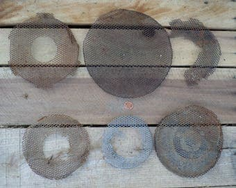 6 pieces of metal screen wire assemblage altered art salvage